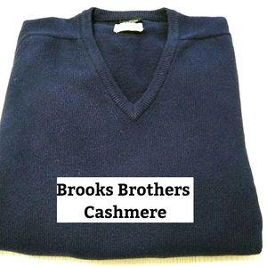 Brooks Brothers Navy V Neck Cashmere Sweater Sz 40